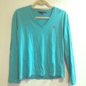 Ralph Lauren sport teal long Sleeve shirt